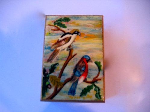 Boîte peinte à la main décor Oiseaux N°6
