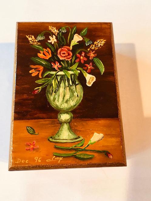 Boite en bois - vasque au bouquet