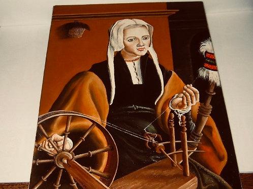 la femme au rouet - huile sui toile