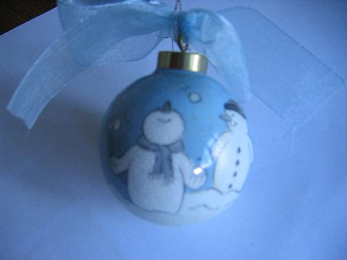 Boule Père Noël en porcelaine peinte à la main