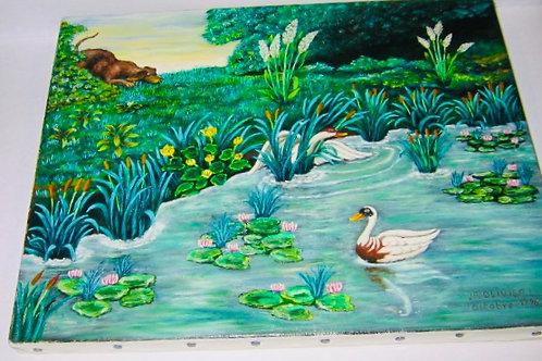 Epagneul et les canards