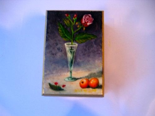 boîte en bois peinte main nature morte au Verre n°9