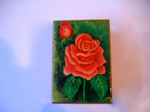 Boîte en bois peinte à la main - la rose rouge N° 13