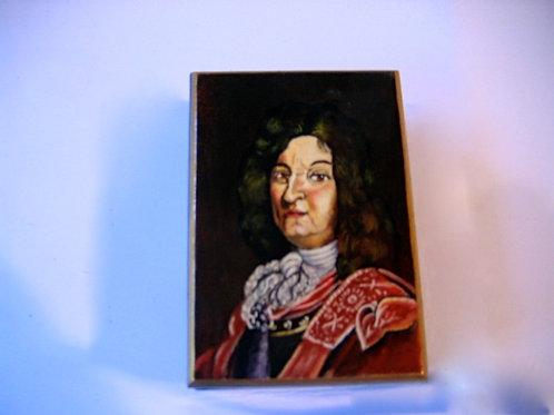 Boîte de bois peinte à la main  Louis XIV