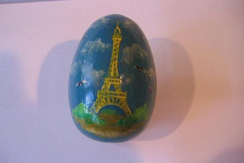Oeuf Tour Eiffel peint sur bois et vernis