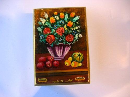 boîte en bois peinte à la main - bouquet 16