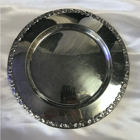 Silver Roped Trim Metal Round Charger Plate