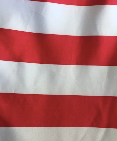"""132"""" Red and White Striped Satin Round"""