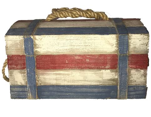 """Nautica"" Striped Medium Wood Box"