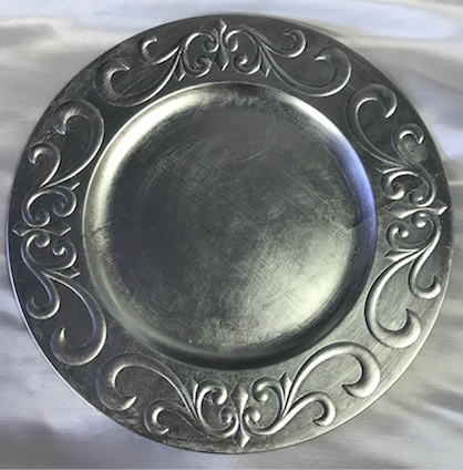 Silver Brocade Acrylic Round Charger Plate