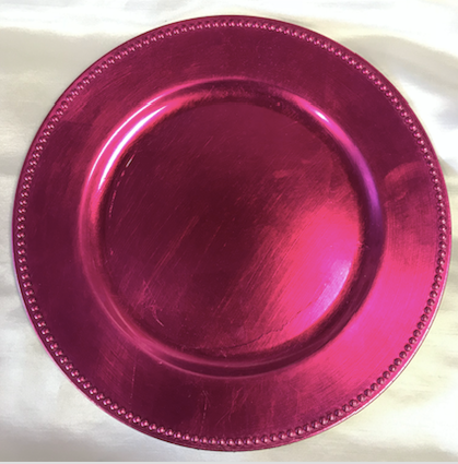Fuchsia Beaded Rim Acrylic Round Charger Plate