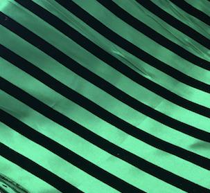 Black Velvet Stripes on Green Satin Table Runner