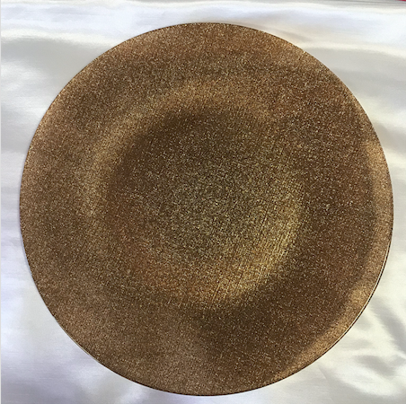 Gold Glitter Glass Round Charger Plate