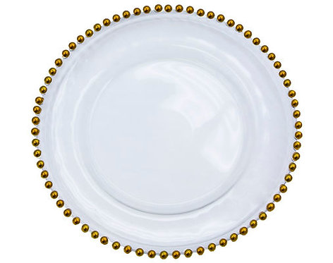 Beaded Rim Glass Round Charger Plate