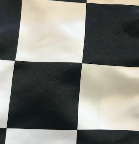 """120"""" Black and White Checkered Satin Round"""