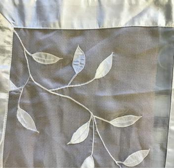 White Leaves Organza Table Runner