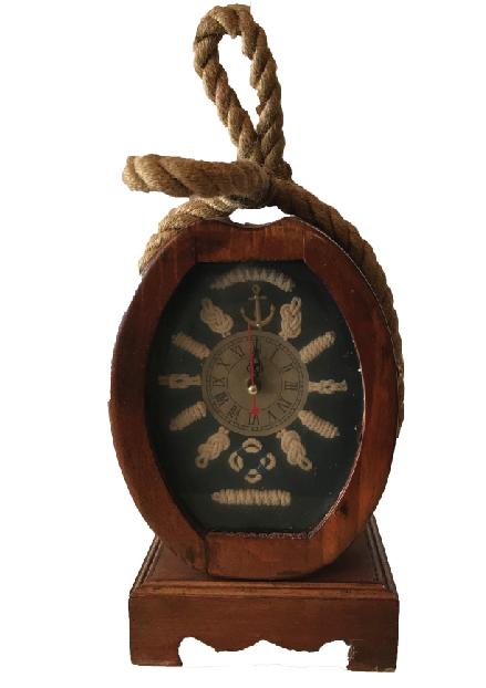 """""""Nautica"""" Wood Clock Centerpiece"""