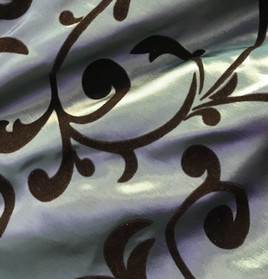 Light Blue and Brown Damask Overlay Topper