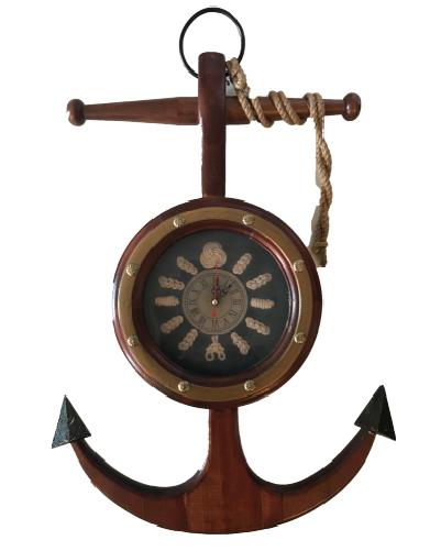 """Nautica"" Wood Anchor w/ Clock"