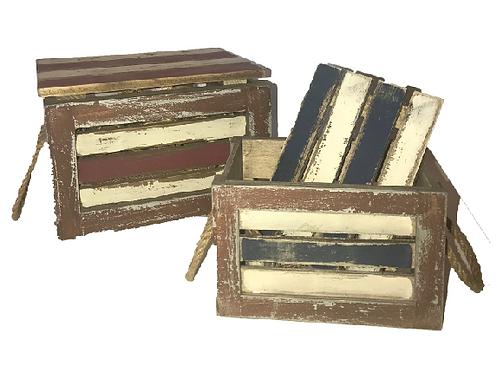 """Nautica"" Small Striped Wood Boxes"