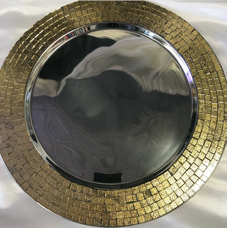 Silver w/ Gold Trim Metal Round Charger Plate