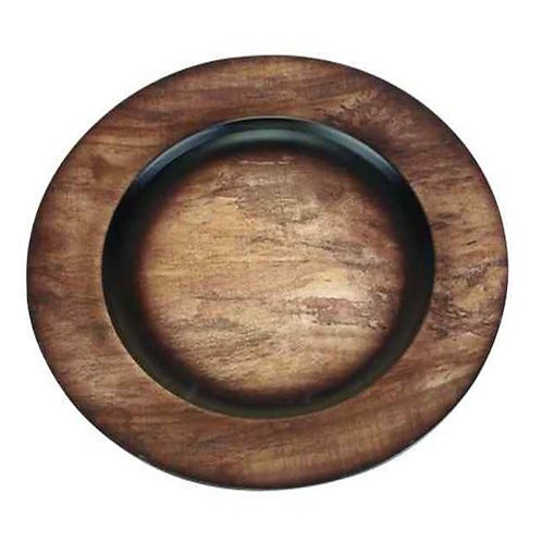 Dark Faux Wood Round Charger Plate