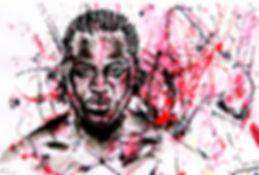 Francis Ngannou Fight VOX Aquarelle Encre Combat   Sarah PONCEBLANC Illustratrice