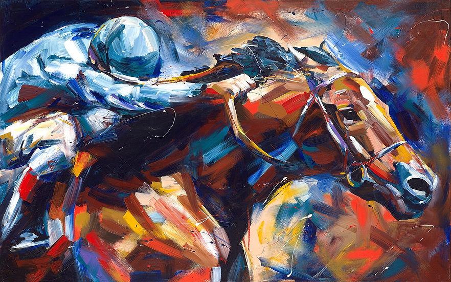 Jockey and Racehorse Print