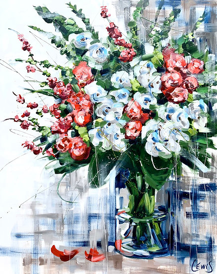 Expressive Flowers in Vase Original