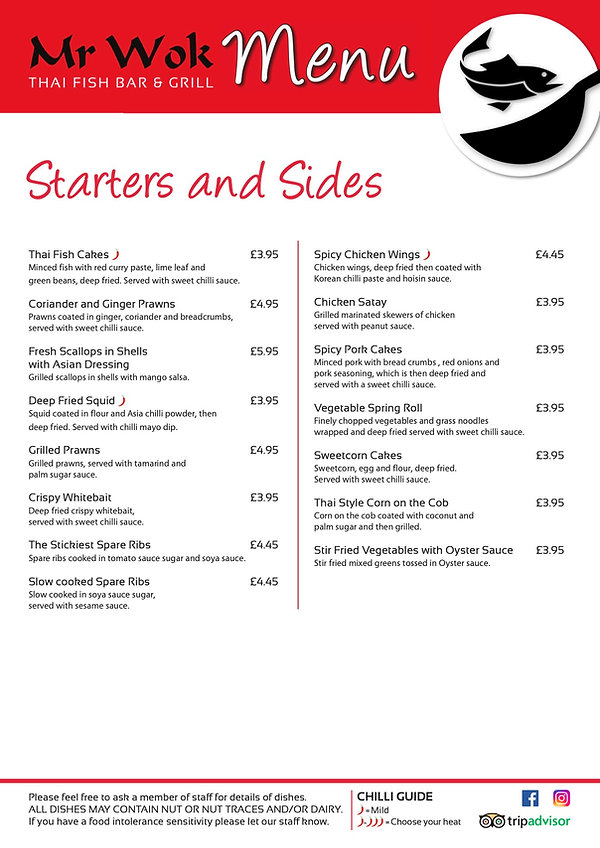 Mr Wok Thai Fish Bar - 4 page menu - Pro