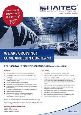 PPC Manpower Resource Planner (m/f/d) based in Hahn (HHN)