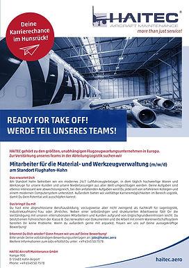 Mitarbeiter für die Material- und Werkzeugverwaltung (m/w/d)am Standort Flughafen-Hahn