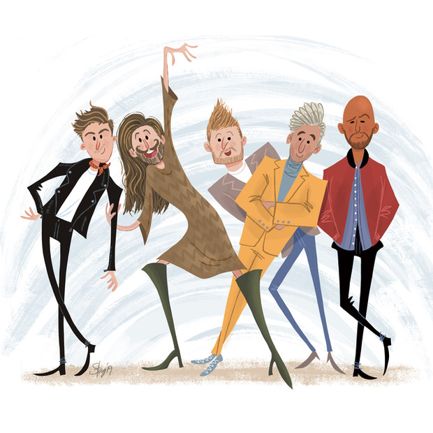 """Illustration of Fab 5 from """"Queer Eye"""""""