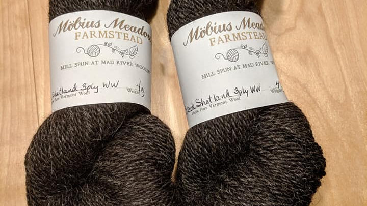 Black Shetland 3 ply worsted weight