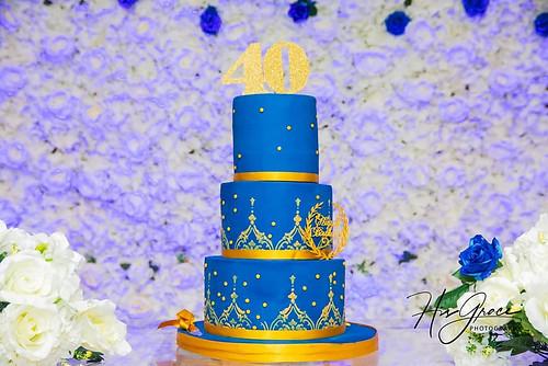 Royal blue 40th birthday cake