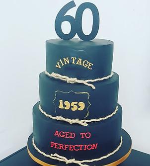 All black 60th birthday cake
