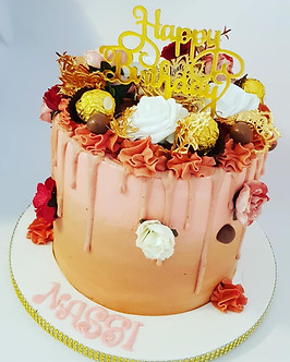 Buttercream rose gold drip cake