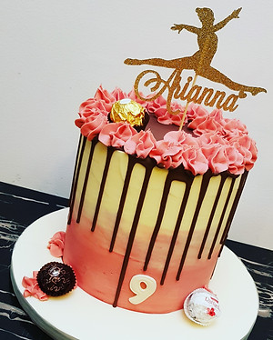 Pink ombre chocolate drip cake