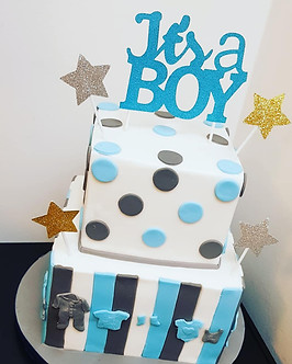 Square 2 tier baby shower cake