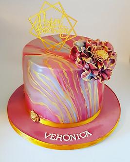 Marble design birthday cake