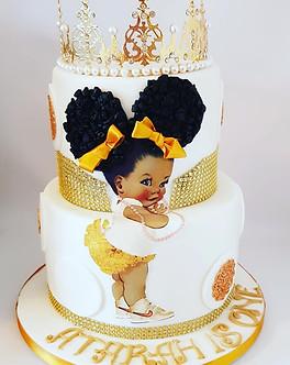 Afro-puff baby cake