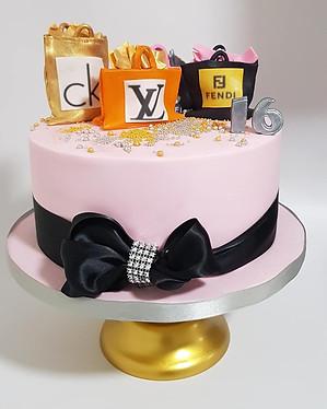 Shopping inspired 16th birthday cake