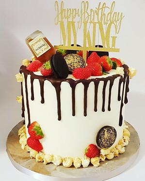 Buttercream chocolate drip birthday cake