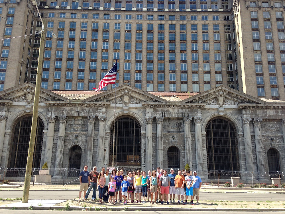 The team in front of Central Train Station, a symbol of the hard times Detroit has faced. This iconic building is under renovation after years of sitting vacant.