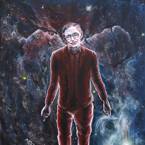 Portrait of Stephen Hawking, physicist.
