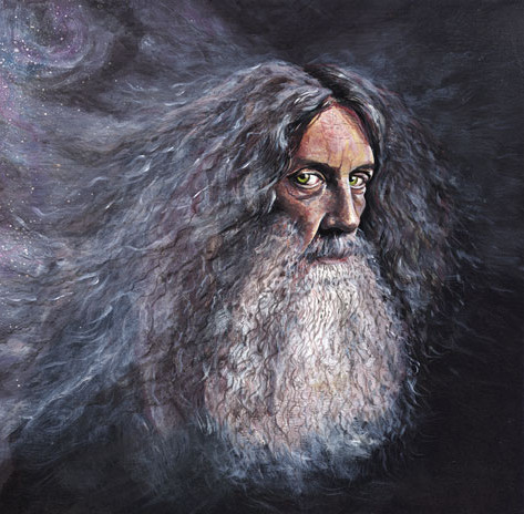 Portrait of Alan Moore, writer.