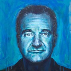 Portrait of Robin Williams, comedian.