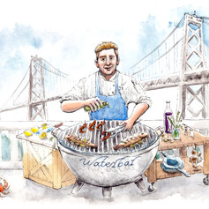 Grilling Fish by the Bay Bridge