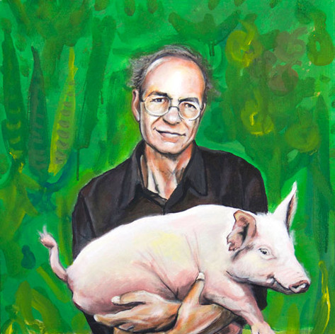 Portrait of Peter Singer, writer.