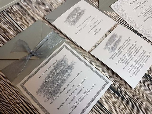 These Flat Wedding Invitation Packages Feature Glitter Backed Invites Themed Rsvp And One Information Card Poem